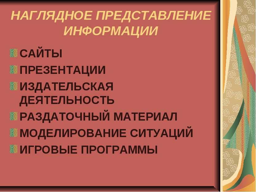 НАГЛЯДНОЕ ПРЕДСТАВЛЕНИЕ ИНФОРМАЦИИ САЙТЫ ПРЕЗЕНТАЦИИ ИЗДАТЕЛЬСКАЯ ДЕЯТЕЛЬНОСТ...