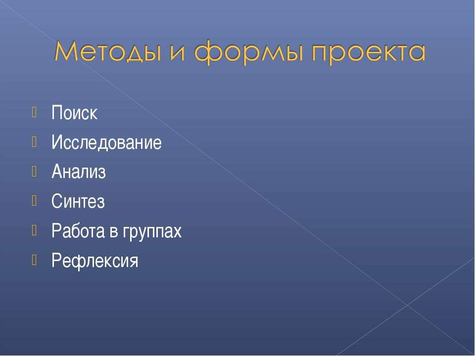 Поиск Исследование Анализ Синтез Работа в группах Рефлексия