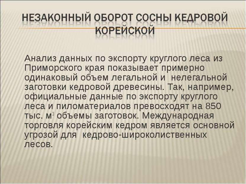 Анализ данных по экспорту круглого леса из Приморского края показывает пример...
