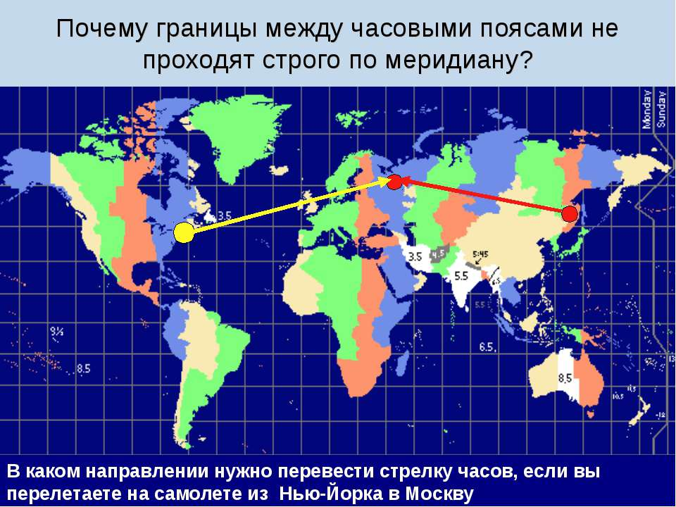 Почему границы между часовыми поясами не проходят строго по меридиану? В како...