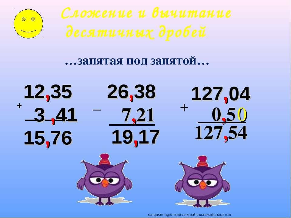 + 12,35 3 ,41 15,76 26,38 7,21 19,17 Сложение и вычитание десятичных дробей …...