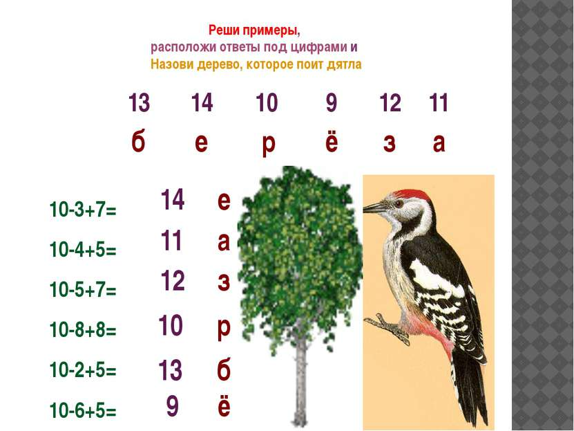 Реши примеры, расположи ответы под цифрами и Назови дерево, которое поит дятл...