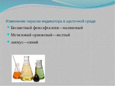 Изменение окраски индикатора в щелочной среде Бесцветный фенолфталеин—малинов...