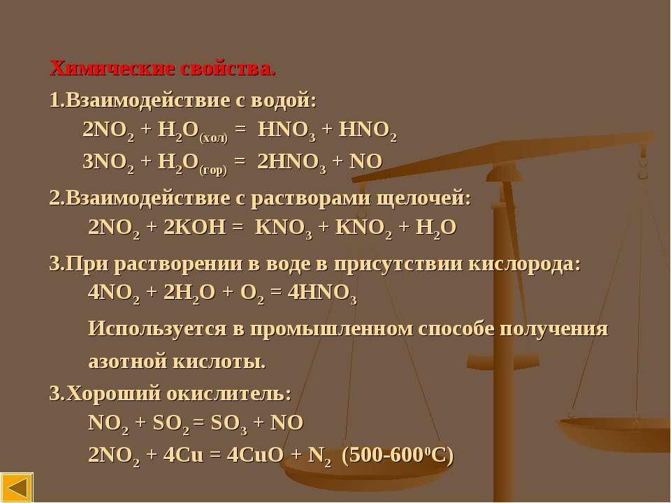 Химические свойства. Взаимодействие с водой: 2NO2 + H2O(хол) = HNO3 + HNO2 3N...