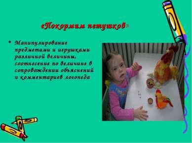 «Покормим петушков» Манипулирование предметами и игрушками различной величины...