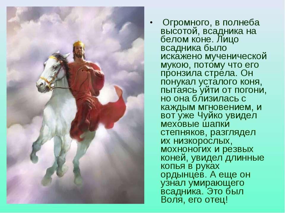 Огромного, в полнеба высотой, всадника на белом коне. Лицо всадника было иска...