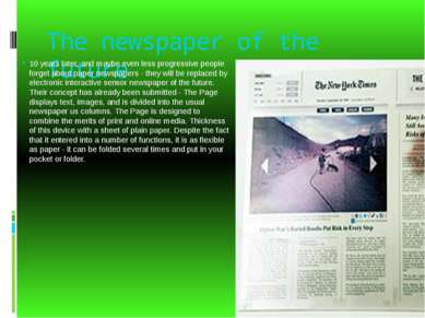 The newspaper of the future 10 years later, and maybe even less progressive p...