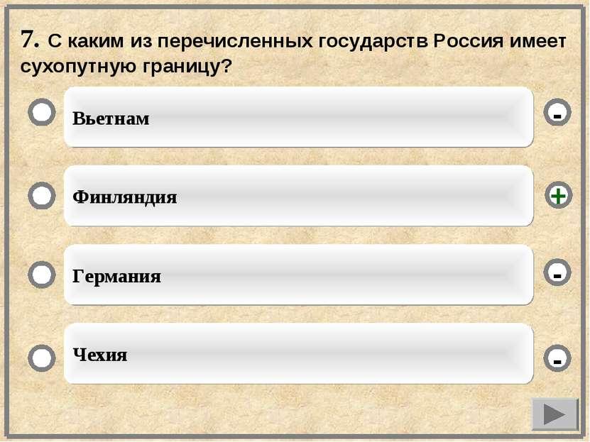 7. С каким из перечисленных государств Россия имеет сухопутную границу? Вьетн...