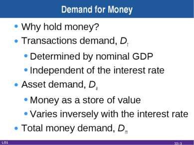 Demand for Money Why hold money? Transactions demand, Dt Determined by nomina...