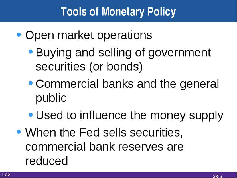 Tools of Monetary Policy Open market operations Buying and selling of governm...