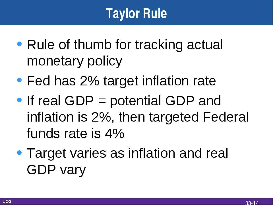 Taylor Rule Rule of thumb for tracking actual monetary policy Fed has 2% targ...