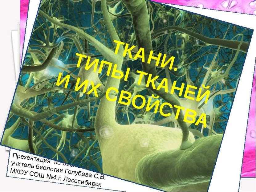 Презентация по биологии учитель биологии Голубева С.В. МКОУ СОШ №4 г. Лесосиб...