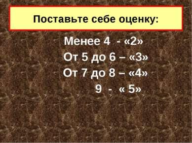 Менее 4 - «2» От 5 до 6 – «3» От 7 до 8 – «4» 9 - « 5» Поставьте себе оценку: