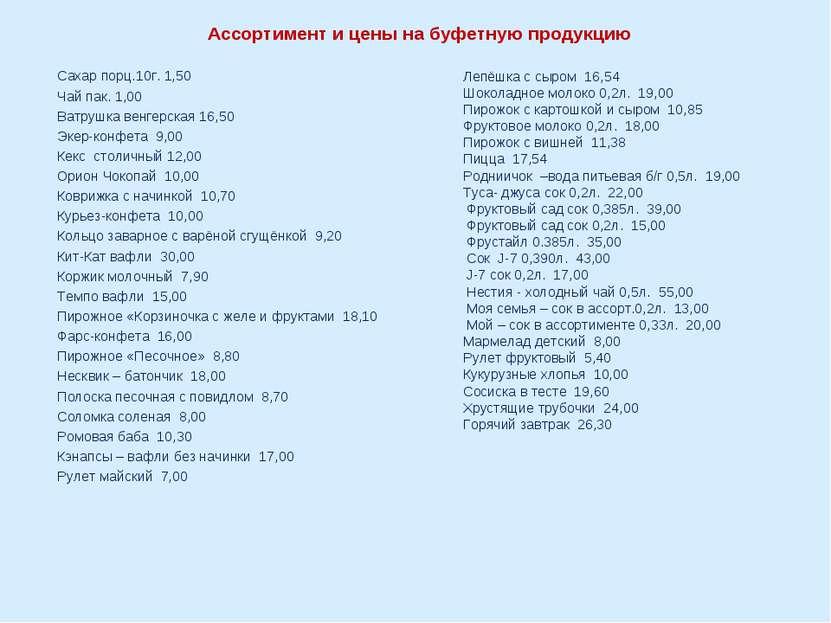 Ассортимент и цены на буфетную продукцию Сахар порц.10г. 1,50 Чай пак. 1,00 ...