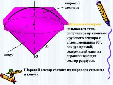 конус шаровой сегмент O r R Шаровым сектором называется тело, полученное вращ...