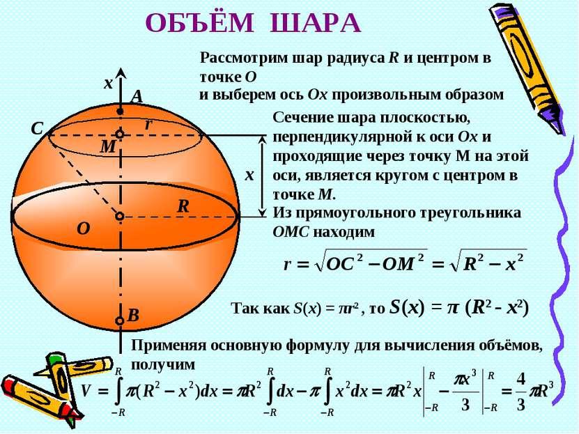 B O R r x M A x С ОБЪЁМ ШАРА Рассмотрим шар радиуса R и центром в точке О и в...