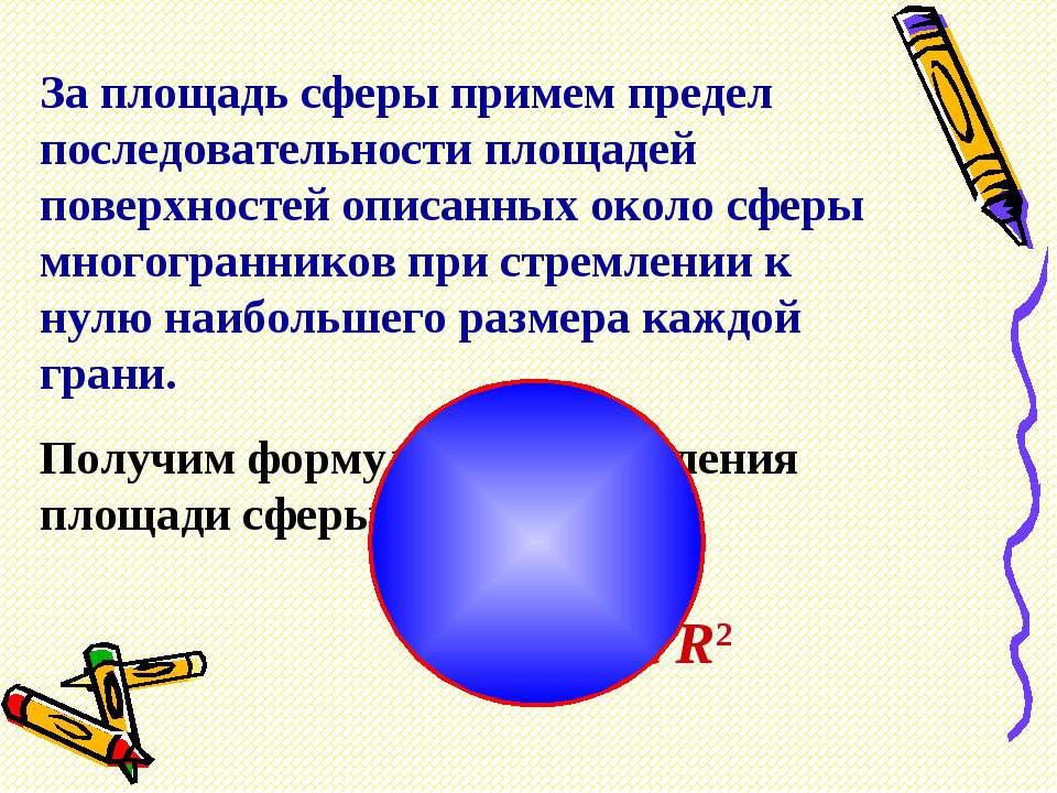За площадь сферы примем предел последовательности площадей поверхностей описа...
