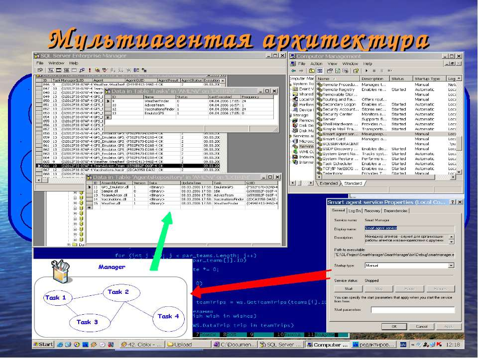 Мультиагентая архитектура Manager Information Environment Weather Finder Vacc...