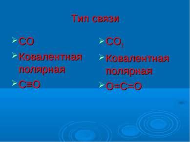 Тип связи СО Ковалентная полярная С≡О СО2 Ковалентная полярная О=С=О
