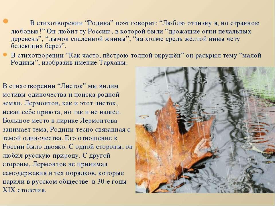 """В стихотворении """"Родина"""" поэт говорит: """"Люблю отчизну я, но странною любовью!..."""