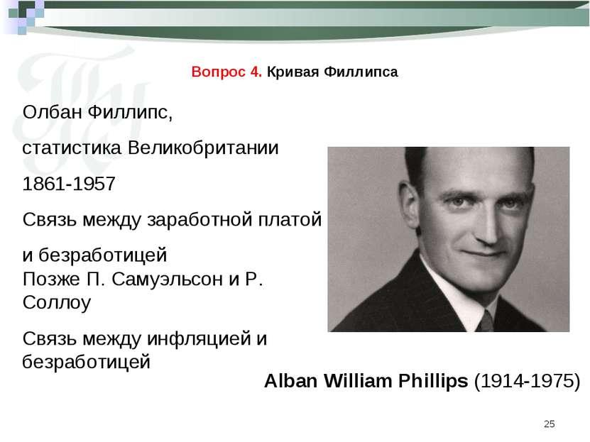 * Вопрос 4. Кривая Филлипса Alban William Phillips (1914-1975) Олбан Филлипс,...