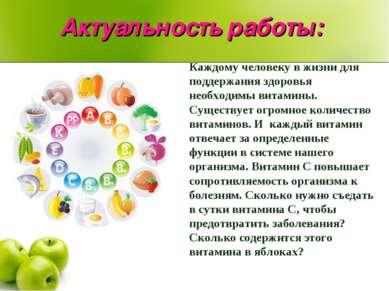 Актуальность работы: Каждому человеку в жизни для поддержания здоровья необхо...