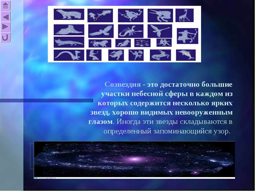 Созвездия - это достаточно большие участки небесной сферы в каждом из которых...