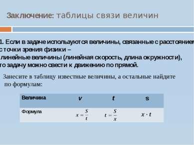 Заключение: таблицы связи величин 1. Если в задаче используются величины, свя...
