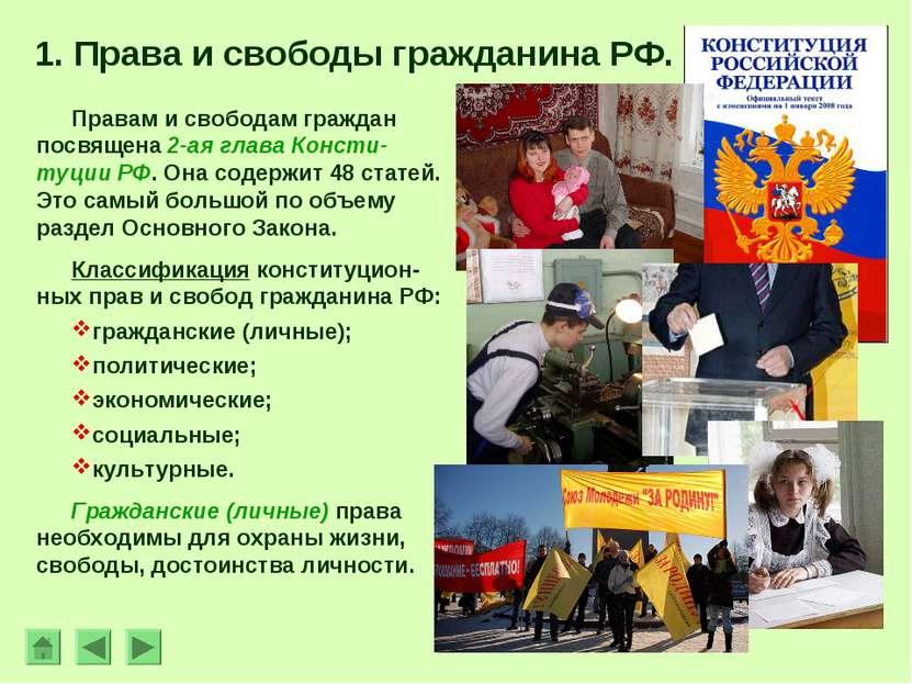 1. Права и свободы гражданина РФ. Правам и свободам граждан посвящена 2-ая гл...