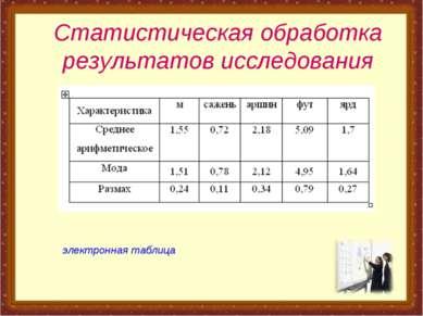 Статистическая обработка результатов исследования электронная таблица