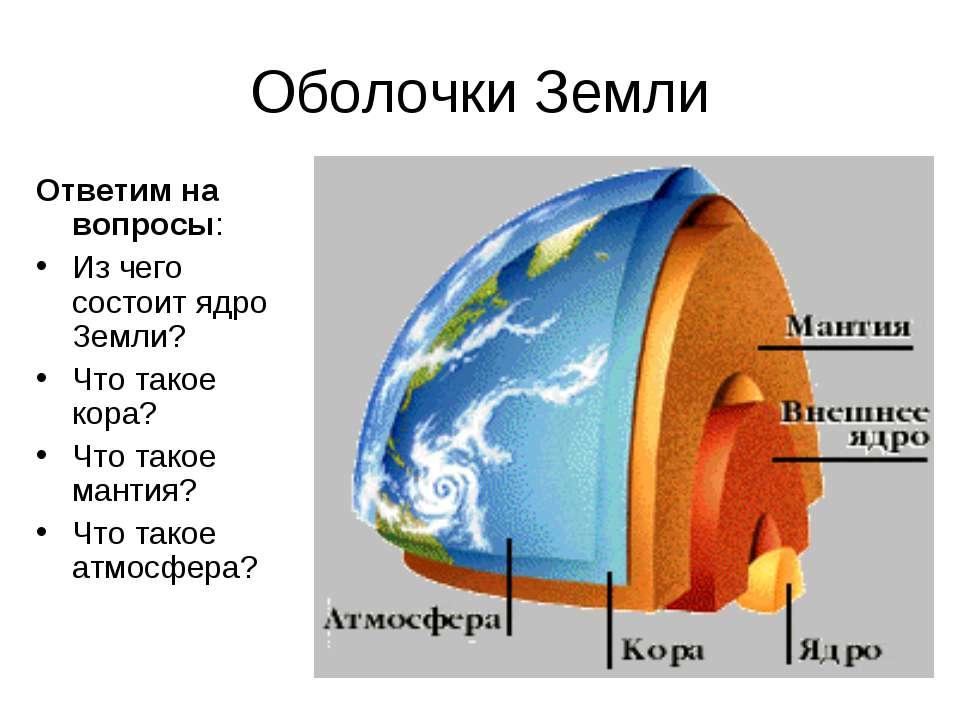Оболочки Земли Ответим на вопросы: Из чего состоит ядро Земли? Что такое кора...