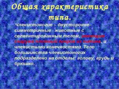 Общая характеристика типа. Членистоногие–двусторонне–симметричные животные ...