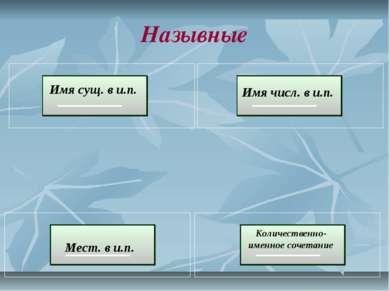 Назывные Имя сущ. в и.п. Мест. в и.п. Имя числ. в и.п. Количественно-именное ...