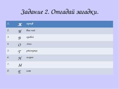 Задание 2. Отгадай загадки. 1. Ж ираф 2. И ван-чай 3. В оробей 4. О лень 5. Т...