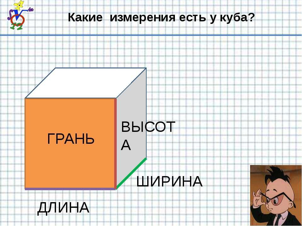 Какие измерения есть у куба? ДЛИНА ШИРИНА ВЫСОТА ГРАНЬ