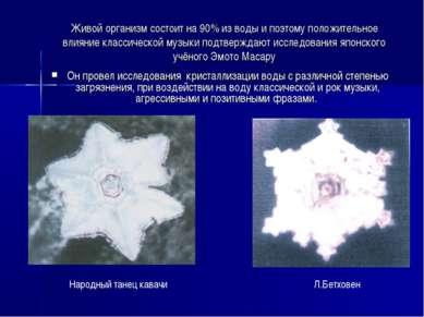 Живой организм состоит на 90% из воды и поэтому положительное влияние классич...