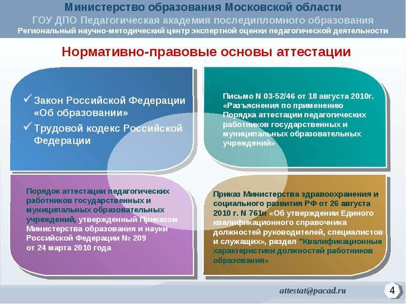Нормативно-правовые основы аттестации Закон Российской Федерации «Об образова...