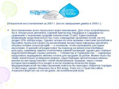 (Показатели восстановления за 2007г. (после завершения дамбы в 2005г.) Восс...