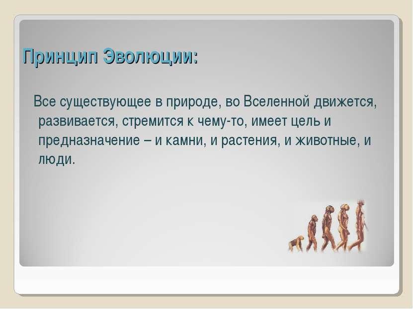 Принцип Эволюции: Все существующее в природе, во Вселенной движется, развивае...