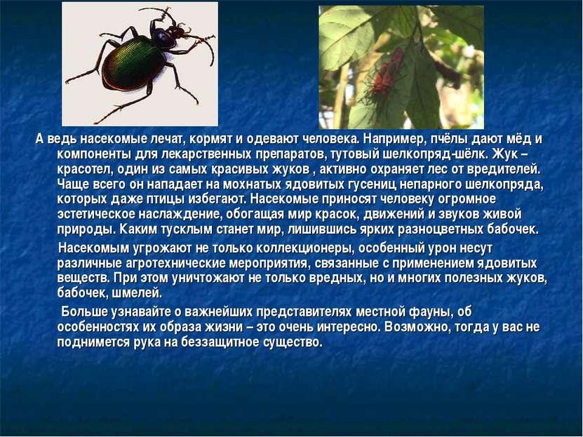 А ведь насекомые лечат, кормят и одевают человека. Например, пчёлы дают мёд и...