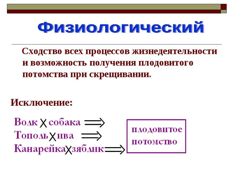 Сходство всех процессов жизнедеятельности и возможность получения плодовитого...