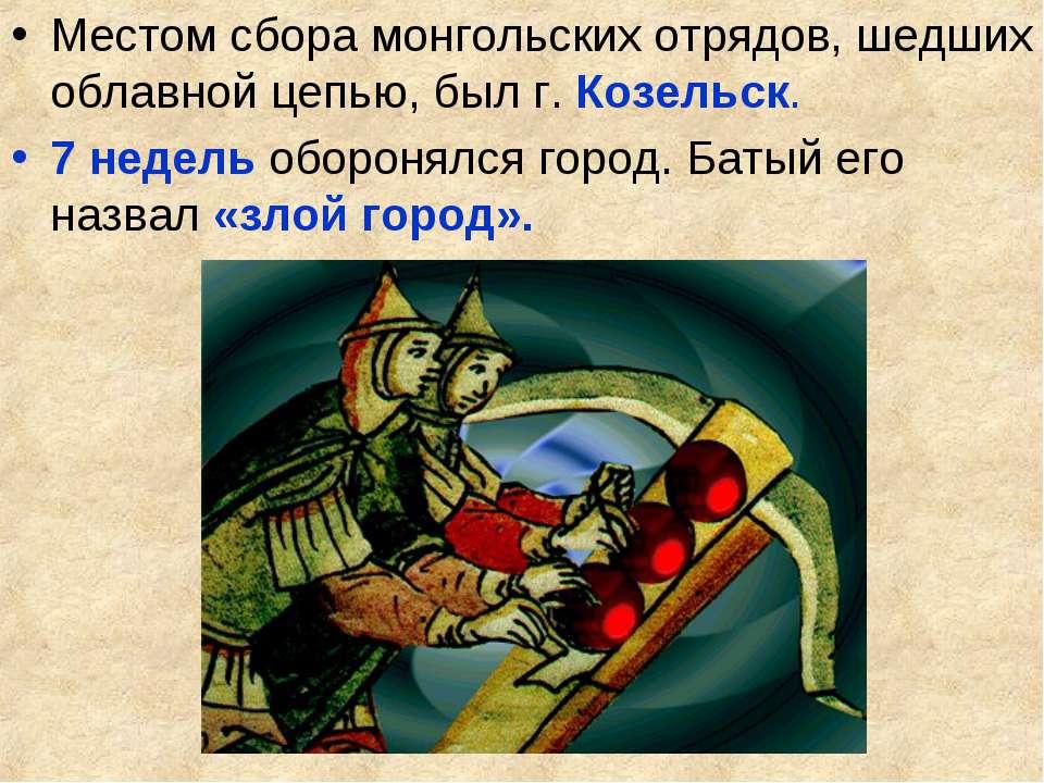 Местом сбора монгольских отрядов, шедших облавной цепью, был г. Козельск. 7 н...
