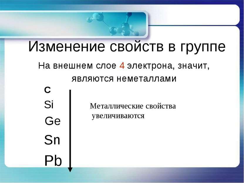 Изменение свойств в группе С Si Ge Sn Pb Металлические свойства увеличиваются...