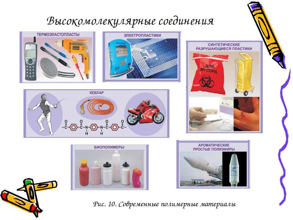 Рис. 10. Современные полимерные материалы Высокомолекулярные соединения