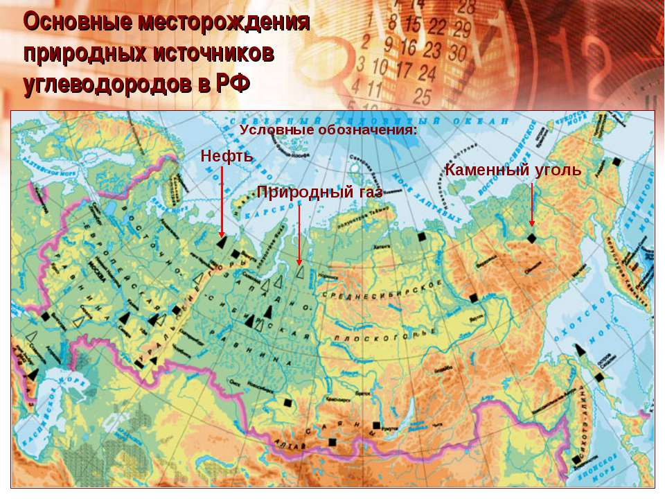Основные месторождения природных источников углеводородов в РФ Нефть Природны...