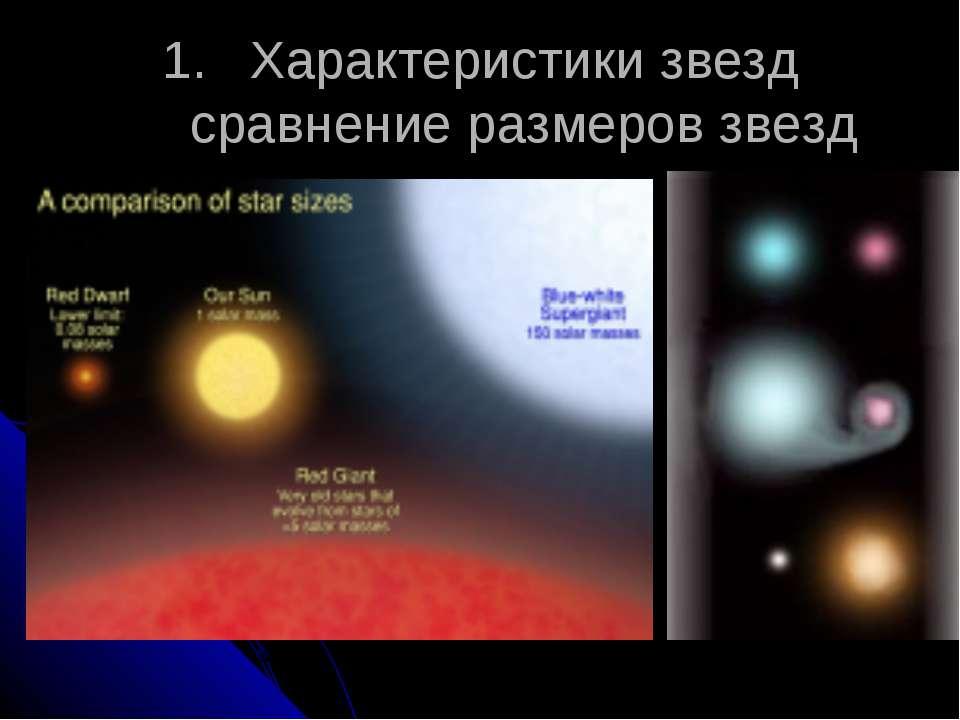 Характеристики звезд сравнение размеров звезд