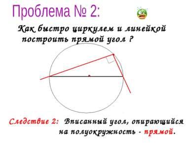 Как быстро циркулем и линейкой построить прямой угол ? Следствие 2: Вписанный...