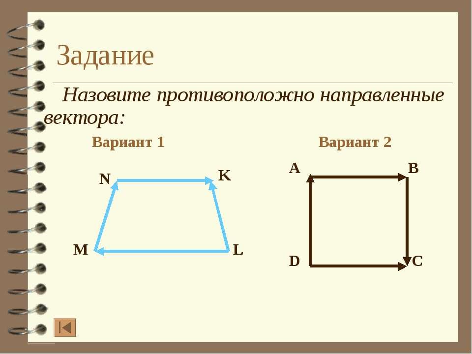 Задание Назовите противоположно направленные вектора: Вариант 1 Вариант 2 A B...
