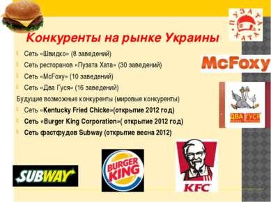 Конкуренты на рынке Украины Сеть «Швидко» (8 заведений) Сеть ресторанов «Пуза...