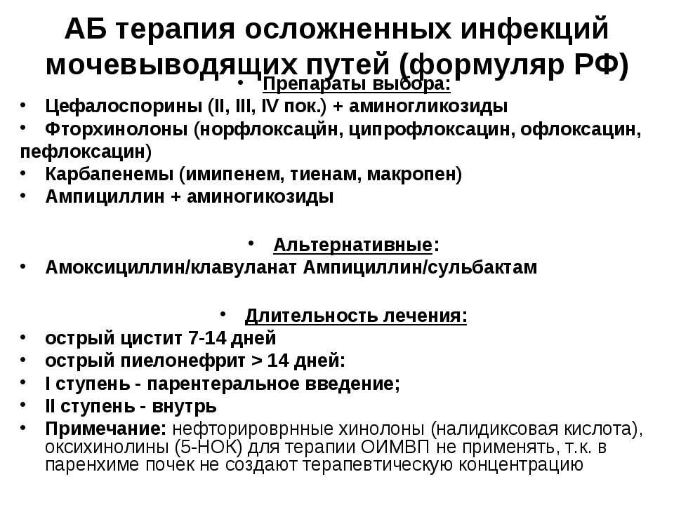 АБ терапия осложненных инфекций мочевыводящих путей (формуляр РФ) Препараты в...